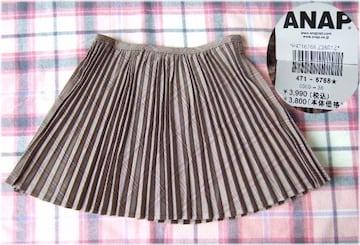 460新品★ANAP 茶 チェック柄 プリーツ ミニスカート