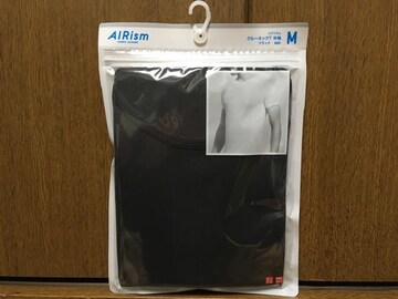 新品ユニクロUNIQLOエアリズムクルーネックT半袖黒色ブラックM
