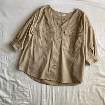 7分袖ミリタリーVネックシャツジャケットM/ベージュ