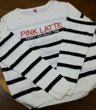 ピンクラテ/PINK-latte☆ボーダー薄手セーター/size S・160 : 白×黒