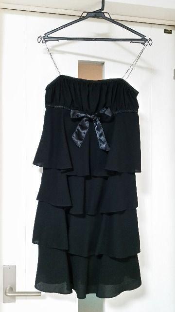 ラストシーン ティアードワンピース フリルワンピース 結婚式パーティ 黒  < 女性ファッションの