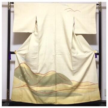 美品 高級呉服 真綿紬 訪問着 身丈159 裄6.5 極上 正絹 紬 袷 中
