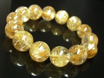 厳選を重ねた品質 タイチンルチル ブレスレット 14ミリ数珠 最強金運アップ