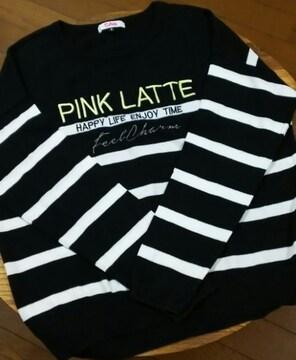 ピンクラテ/PINK-latte☆ボーダー薄手セーター/size  S・160 : 黒×白