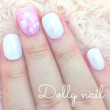 みぢょ!チビ爪ベリショふんわり可愛いピンク小花ホワイト/オーロラネイル