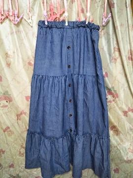 訳あり紺系白ボーダーライン4Lスカート