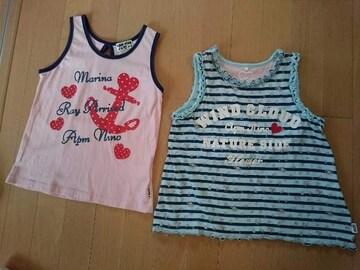 apmノースリーブTシャツ/トップス♪夏服トップス/サイズ130�p/イカリピンク&ストライプブルー