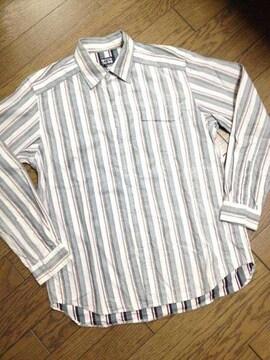 美品TAKEO KIKUCHI デザインストライプシャツ タケオキクチ