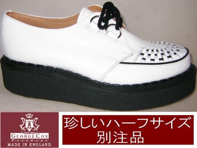 ジョージコックス3588ホワイト定番ラバーソール ハーフuk10.5  < 男性ファッションの