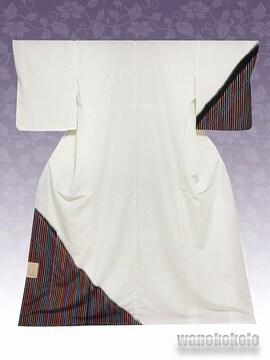 【和の志】洗える着物◇袷・付下げ◇白系・縞柄◇KTK-112
