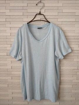 即決/H&M/半袖VネックTシャツ/ブルー/無地/M