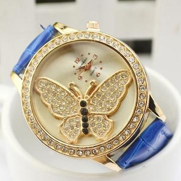 ★腕時計 レディース チョウ文字盤 ブルーバンド