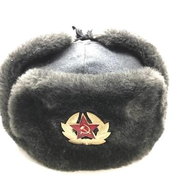 旧ソ連軍特殊部隊将校用ウシャンカ 防寒帽 ロシア軍 毛皮/ウール