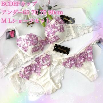 Tバック付き☆F70M バラ刺繍 アイボリー ブラ&ショーツ