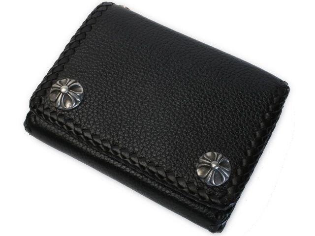 【WA-9665】カウレザーブラックスキンウォレット3つ折り牛革財布 < 男性ファッションの