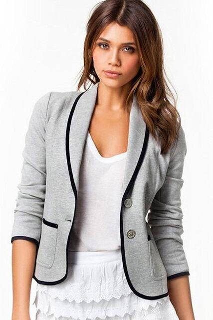 脚長.着せ★オールシーズン★ショートジャケット(XL寸.灰色) < 女性ファッションの
