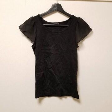 新品◆MIRACLE CLOSET◆袖シースルーフリルトップス黒L