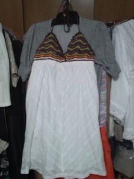 スパイラルガール白ホルターチュニック綿茶緑オレンジ胸パットS
