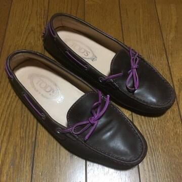 TOD'S トッズ レザードライビングシューズ 茶×紫 23.5cm