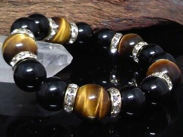 タイガーアイ14ミリ§オニキス12ミリ金ロンデル数珠