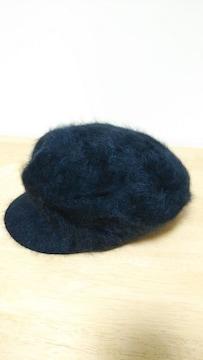 ファーの帽子 黒