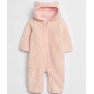 新品 babyGAP☆70 クマ耳 フード付き ボア カバーオール ピンク ベビーギャップ