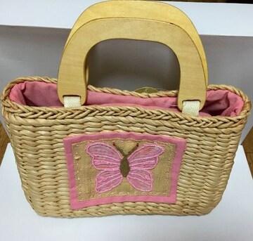 ピンク蝶々☆新品☆カゴバッグ