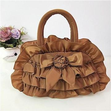 新品フリル&リボンナイロン生地トートバッグ茶色ブラウンレディースバッグ