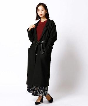 新品☆NICOLE white(ニコルホワイト)合皮ベルト付ロングコート☆コーディガン