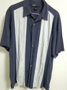 USシルクシャツ ネイビー系