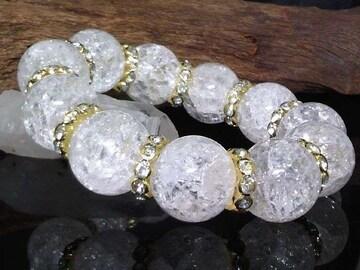 クラック水晶20ミリ§爆裂水晶金ロンデル数珠