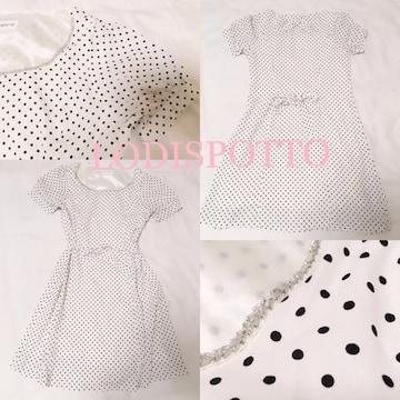 LODISPOTTO【新品同様】水玉バックリボンワンピース White
