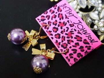 新品 ゴスロリ姫系リボン紫パールピアス BETSEY JOHNSON