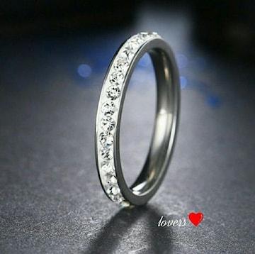 送料無料21号シルバースーパーCZダイヤフルエタニティリング指輪