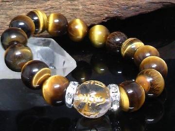 六字真言水晶14ミリ§タイガーアイ12ミリ金ロンデル数珠