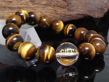 六字真言水晶14ミリ§タイガーアイ12ミリ数珠
