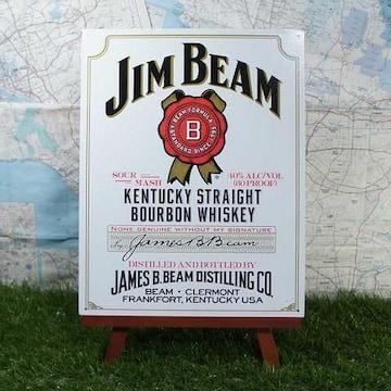 新品【ブリキ看板】Jim Beam/ジム・ビーム 白ラベル