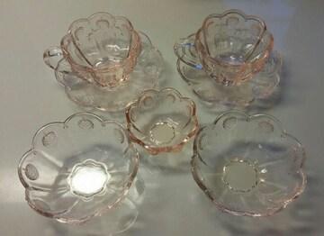 ◎ピンク ガラス食器セット◎ 7点