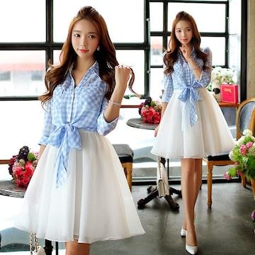 大きいサイズ2点チェックシャツ×キャミワンピ2L3L4L5L☆C00508