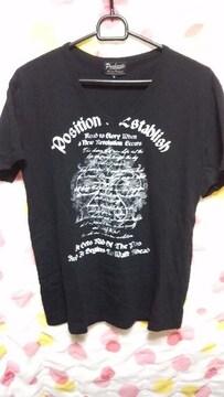 美品 メンズTシャツ(L)黒×英字・?柄