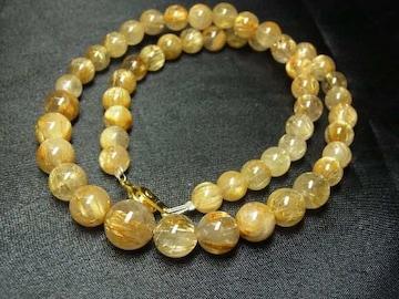 極上の天然石パワーストーンネックレス!!ゴールドタイチンルチル数珠