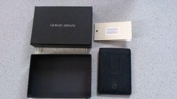 激安85%オフジョルジオ・アルマーニ、定期入れ、パスケース(未使用箱、黒、イタリア製)