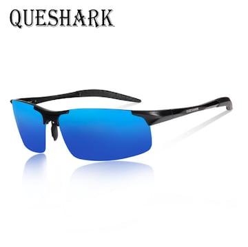QUESHARK 偏光サングラスメタル超軽量 ブルー