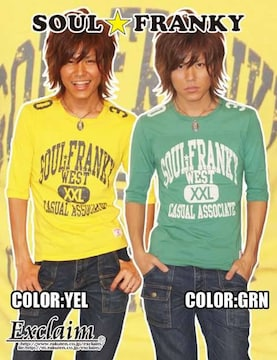 SOULFRANKYアメフトFRANKY五分丈Tシャツ/イエローM梅しゃん