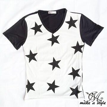 総柄 ブラックスターズ Vネック Tシャツ TEE 星 STARS 82M B系