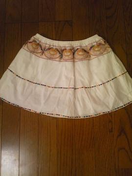 コットン刺繍ミニスカートホワイトビーズシェル