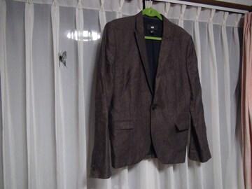 H&Mの麻のテーラードジャケット(L)ブラウン!。