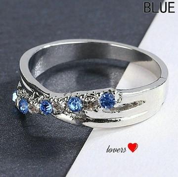 送料無料18号シルバーブルートパーズスーパーCZダイヤリング指輪