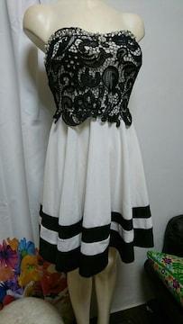 dazzy 白×黒 エーライン ミニドレス