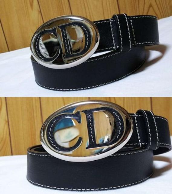 正規未 ディオール オーバルシルバーCDロゴバックルベルト 黒 80 メンズ Dior Homme < ブランドの